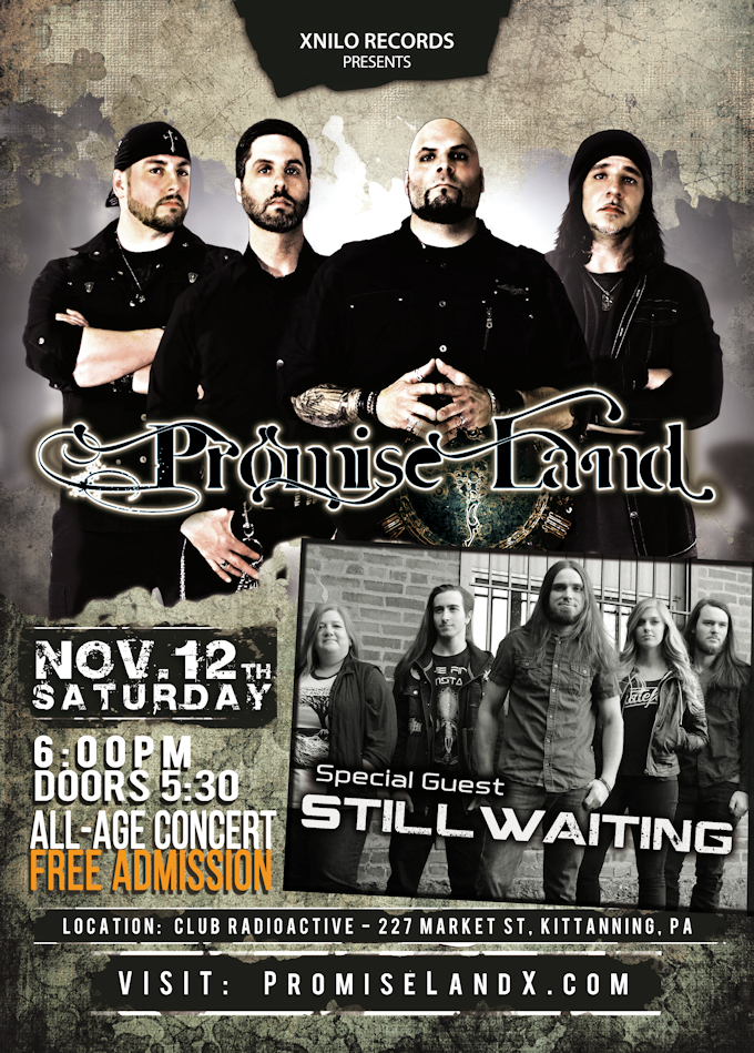Promise Land in concert with special guest StillWaiting - November 12th 2016 at Club Radioactive